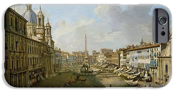 Dome iPhone Cases - The Piazza Navona In Rome Oil On Canvas iPhone Case by Giovanni Paolo Pannini or Panini