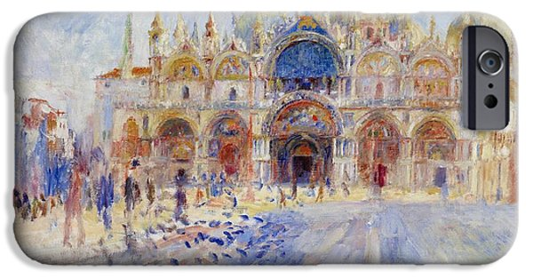 Facade iPhone Cases - The Piazza San Marco iPhone Case by Pierre Auguste Renoir