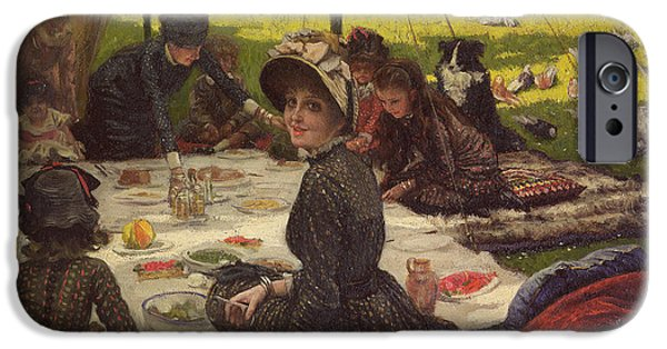 Kathleen iPhone Cases - The Picnic Dejeuner Sur Lherbe, C.1881-2 Panel iPhone Case by James Jacques Joseph Tissot