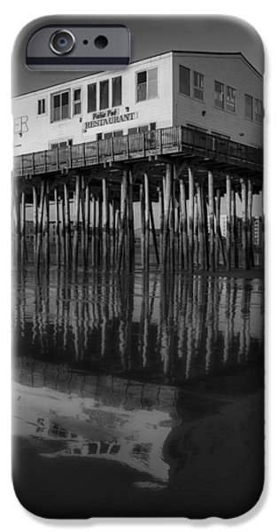 Maine iPhone Cases - The Pier BW iPhone Case by Susan Candelario