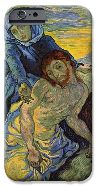 Delacroix iPhone Cases - The Pieta after Delacroix 1889 iPhone Case by Vincent Van Gogh