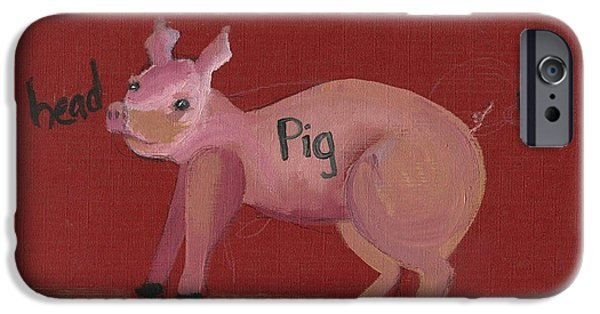 Printmaking iPhone Cases - The Pig iPhone Case by Cathy Peterson