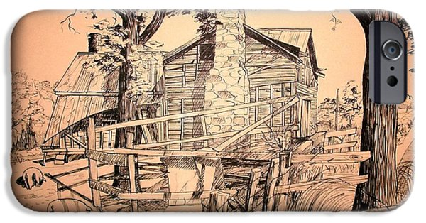 Old Barn Drawing iPhone Cases - The Pig Sty iPhone Case by Kip DeVore