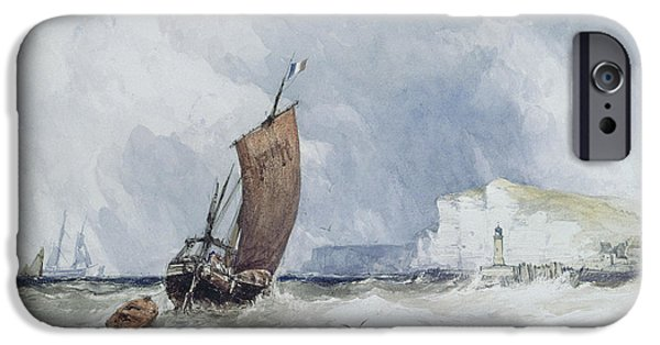 Snake iPhone Cases - The Pilot Boat Off Fecamp, Normandy iPhone Case by Charles Bentley