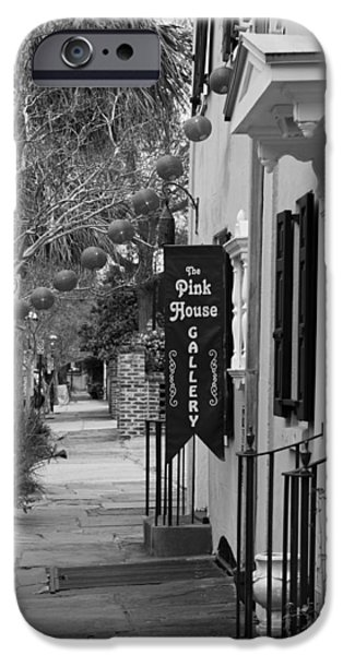 The White House Photographs iPhone Cases - The Pink House Gallery - Black and White iPhone Case by Suzanne Gaff