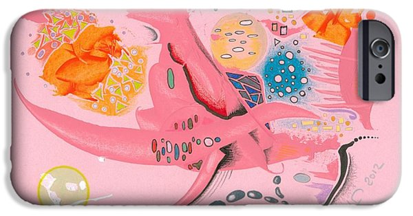 Moonscape Drawings iPhone Cases - The Pink Space iPhone Case by Ralf Schulze