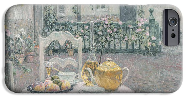 Table Wine iPhone Cases - The Pink Tablecloth iPhone Case by Henri Eugene Augustin Le Sidaner
