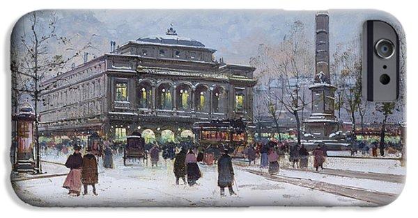 Nineteenth iPhone Cases - The Place du Chatelet Paris iPhone Case by Eugene Galien-Laloue