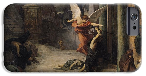 Night Angel iPhone Cases - The Plague In Rome, 1869 Oil On Canvas iPhone Case by Jules Elie Delaunay