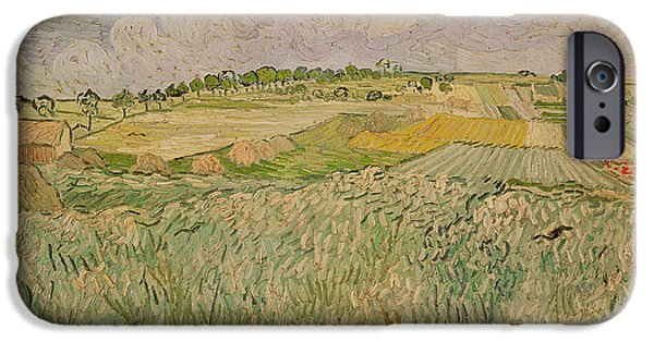 Field. Cloud iPhone Cases - The Plain at Auvers iPhone Case by Vincent Van Gogh