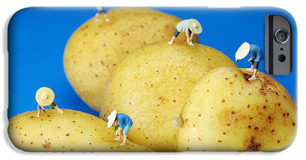 Soil Digital Art iPhone Cases - The Planting on potatoes little people on food iPhone Case by Paul Ge