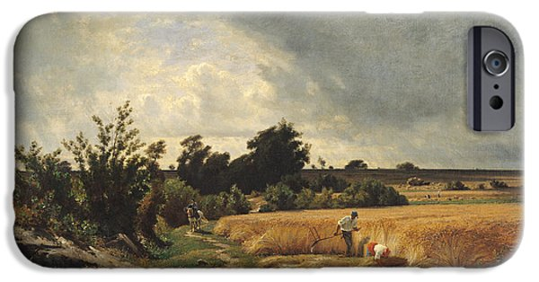 Agriculture iPhone Cases - The Plateau Of Ormesson - A Path Through The Corn Oil On Canvas iPhone Case by Francois Louis Francais