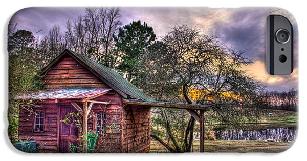 Pastureland iPhone Cases - The Play House at Sunset near Lake Oconee. iPhone Case by Reid Callaway