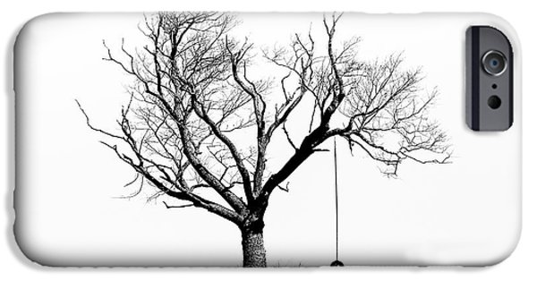 Gary Heller iPhone Cases - The Playmate - Old Tree And Tire Swing On An Open Field iPhone Case by Gary Heller