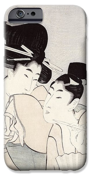 Pleasure iPhone Cases - The Pleasure of Conversation iPhone Case by Kitagawa Utamaro