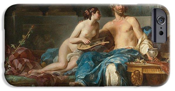 Pleasure Paintings iPhone Cases - The Pleasures of Anacreon iPhone Case by Jean-Bernard Restout