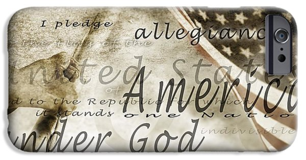 Mid Adult iPhone Cases - The Pledge Of Allegiance And An iPhone Case by Chris and Kate Knorr