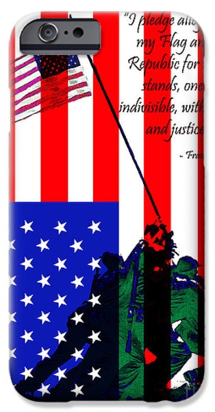 4th July iPhone Cases - The Pledge of Allegiance - Iwo Jima 20130210 iPhone Case by Wingsdomain Art and Photography