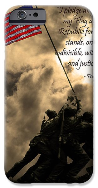 The Pledge of Allegiance - Iwo Jima 20130211v2 iPhone Case by Wingsdomain Art and Photography