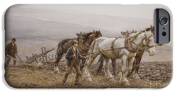 Plow iPhone Cases - The Ploughman Wilmington Polegate Near Eastbourne iPhone Case by Joseph Harold Swanwick