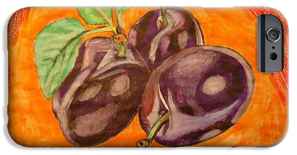 Plum Drawings iPhone Cases - the Plum iPhone Case by Fladelita Messerli-