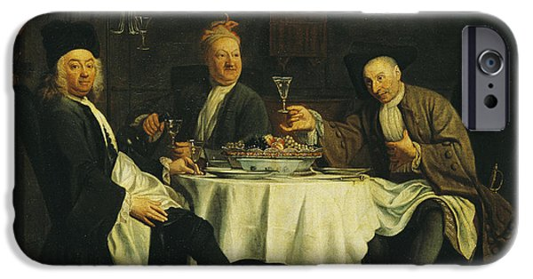 Writer iPhone Cases - The Poet Alexis Piron 1689-1773 At The Table With His Friends, Jean Joseph Vade 1720-57 And Charles iPhone Case by Etienne Jeaurat