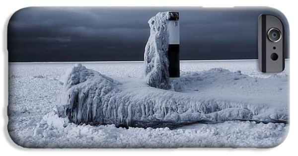 Lighthouse iPhone Cases - The Polar Vortex Freezes The Great Lakes iPhone Case by Dan Sproul