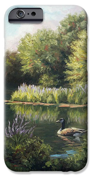 Canadian Geese Paintings iPhone Cases - The Pond iPhone Case by Lucie Bilodeau