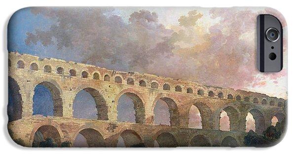 Roman iPhone Cases - The Pont Du Gard, Nimes, C.1786 Oil On Canvas iPhone Case by Hubert Robert