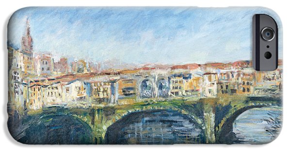 Tuscan Landscapes iPhone Cases - The Ponte Vecchio, Florence, 1995 Oil On Canvas iPhone Case by Patricia Espir