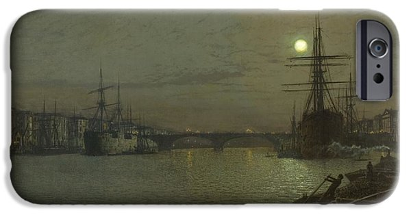 The Pool iPhone Cases - The Pool and London Bridge at Night iPhone Case by Celestial Images
