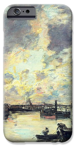 Boat Paintings iPhone Cases - The Port iPhone Case by Eugene Louis Boudin