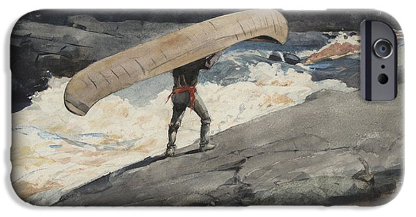 Sea iPhone Cases - The Portage iPhone Case by Winslow Homer