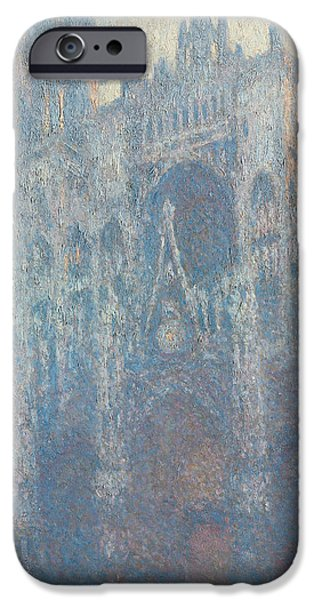 Morning Light Paintings iPhone Cases - The Portal of Rouen Cathedral in Morning Light iPhone Case by Claude Monet