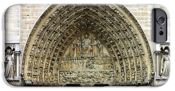 Patriarch iPhone Cases - The Portal of the Last Judgement of Notre Dame de Paris iPhone Case by Fabrizio Troiani