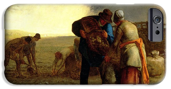 Laborers iPhone Cases - The Potato Harvest iPhone Case by Jean Francois Millet