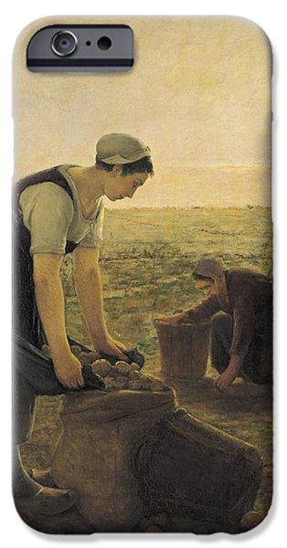 Agriculture iPhone Cases - The Potato Harvest Oil On Canvas iPhone Case by Ernest Masson