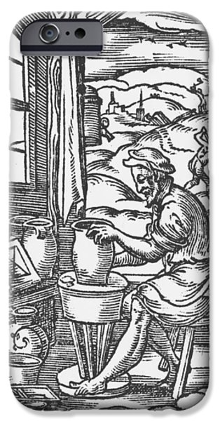 Labour iPhone Cases - The Potter, 1574 Woodcut Bw Photo iPhone Case by Jost Amman