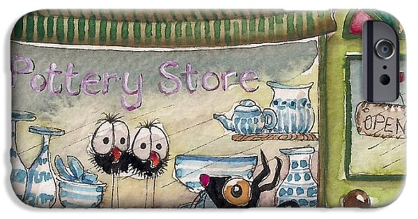 Store Fronts Paintings iPhone Cases - The Pottery Store iPhone Case by Lucia Stewart