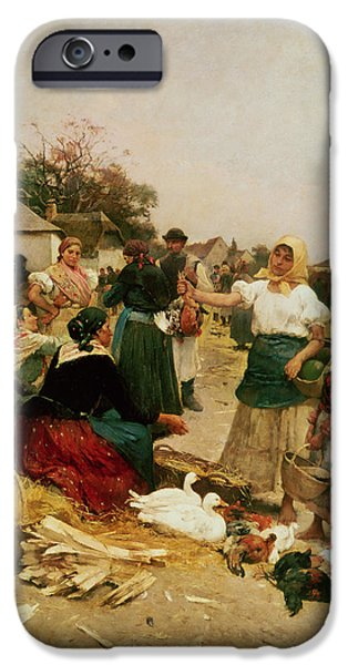 Hens iPhone Cases - The Poultry Market, 1885 iPhone Case by Lajos Deak Ebner