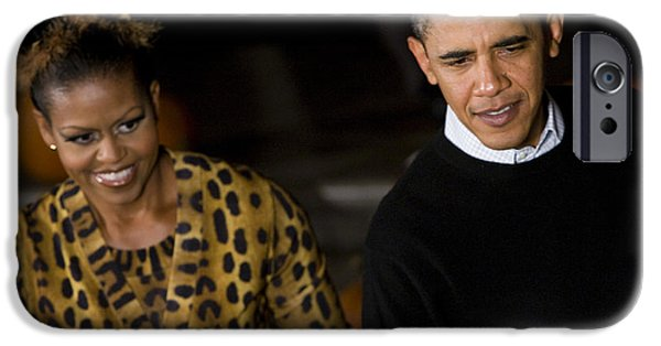 Michelle Obama Photographs iPhone Cases - The President and First Lady iPhone Case by JP Tripp