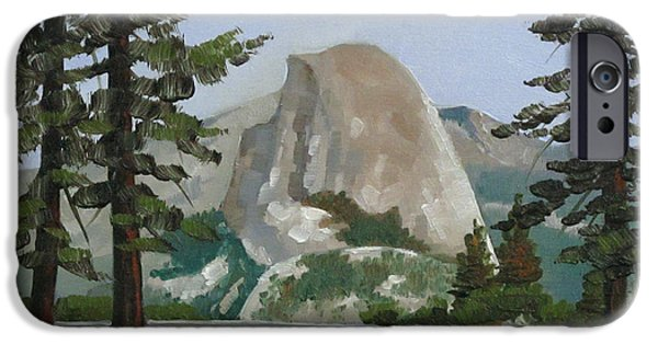 Half Dome Paintings iPhone Cases - The Prettiest of Views iPhone Case by Dorothy Jenson