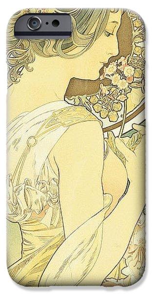 Primroses iPhone Cases - The Primrose iPhone Case by Alphonse Marie Mucha