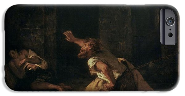 Patriots iPhone Cases - The Prisoner Of Chillon, 1834 Oil On Canvas iPhone Case by Ferdinand Victor Eugene Delacroix