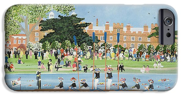 Regatta iPhone Cases - The Procession Of Boats At Eton College iPhone Case by Judy Joel