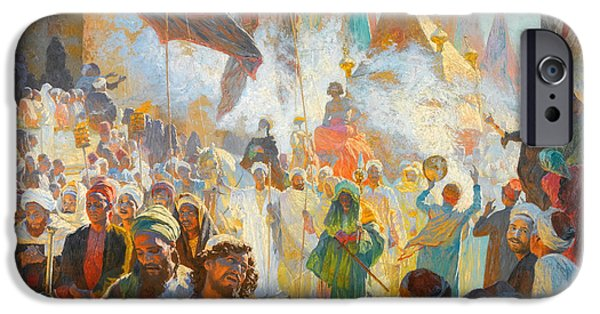 Deutsch iPhone Cases - The Procession of the Mahmal Through the Streets of Cairo iPhone Case by Ludwig Deutsch