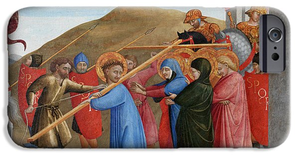 Calvary iPhone Cases - The Procession to Calvary iPhone Case by Sassetta