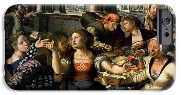 Enfants iPhone Cases - The Prodigal Son, 1536 Oil On Panel iPhone Case by Jan Sanders van Hemessen