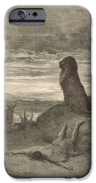 Killer B iPhone Cases - The Prophet Slain by a Lion iPhone Case by Antique Engravings
