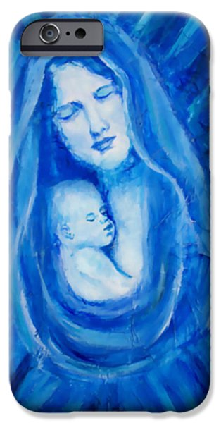 Spiritual Portrait Of Woman iPhone Cases - The Protecting Love Of A Mother And Her Child iPhone Case by The Art With A Heart By Charlotte Phillips
